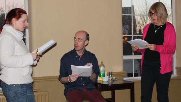 l-r: Fiona Faria, Paul Dunn, Carol Cooke, in rehearsal for RRN II