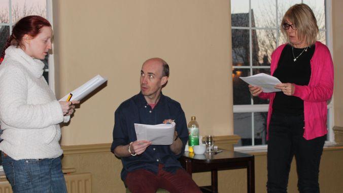 l-r: Fiona Faria, Paul Dunn, Carol Cooke, in rehearsal for RRN II