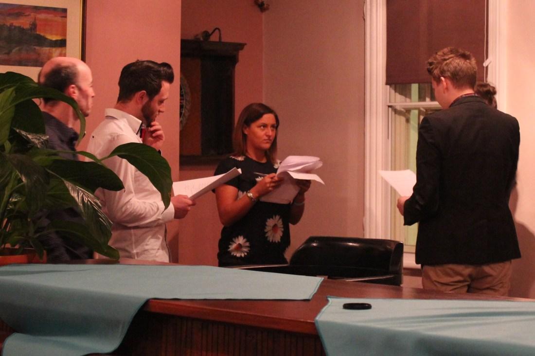 In rehearsal. l-r: producer Paul Dunn, Stephen Sullivan, Danielle Miller, director Peter Dawson