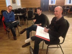 Writers Andrew Kirkwood and Jamie McLeish, with Paul Dunn